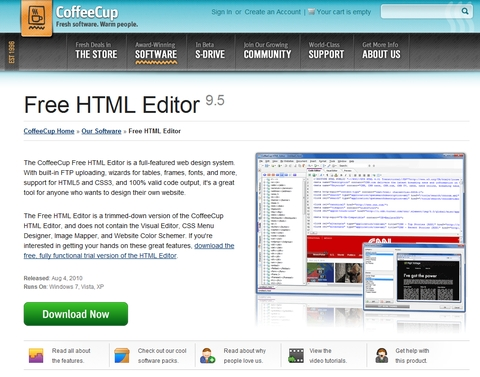 CoffeCup Free HTML Editor